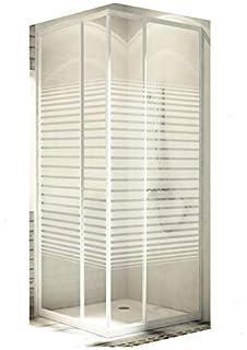 Eckeinstieg Duschkabine Echtglas Sicherheitsglas mit Streifen ...
