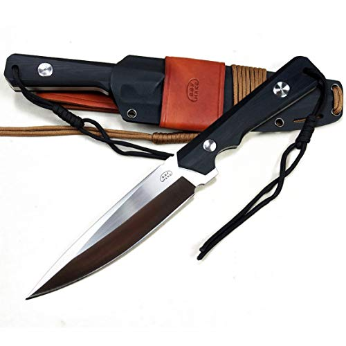 B.B.F Make Fixed Blade Survival Knife with 6.7 Inch Full Stainless Steel Blade - Tactical Knives with KYDEX & Leather Sheath- 12.2'' Full Length - Perfect for Outdoor Camping and Survival