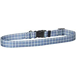"""Yellow Dog Design Preppy Boy Plaid Dog Collar with Tag-A-Long ID Tag System-Large-1"""" and fits Neck 18 to 28"""""""