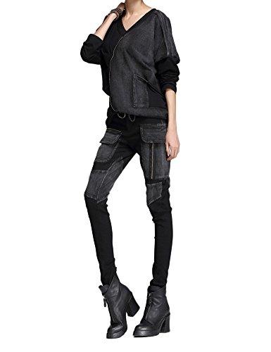 Idopy Punk Style Mujeres Slim Fit Jeans Pants Pantalones Set Negro2