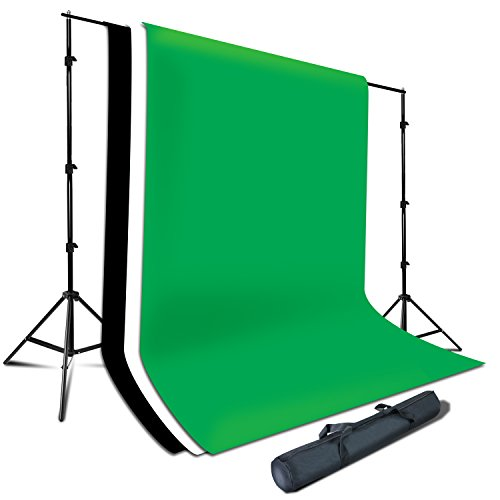 Julius Studio Photography Background Support System, 6 x 9 ft. White, Black, Green Chromakey Muslin Backdrop, 7.5 x 10 ft. Adjustable Muslin Support Stand, JSAG285 by Julius Studio