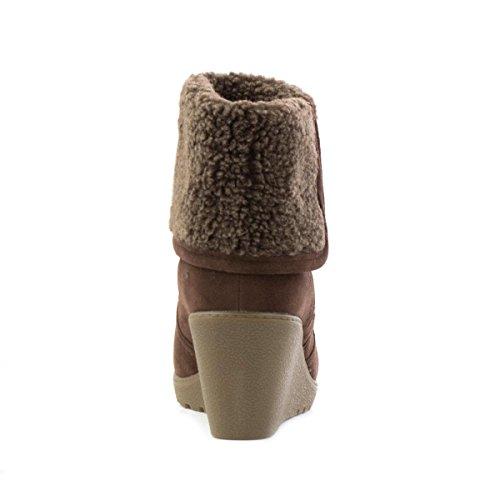 Lilley Damen Braun Stiefelette mit Keilabsatz Braun