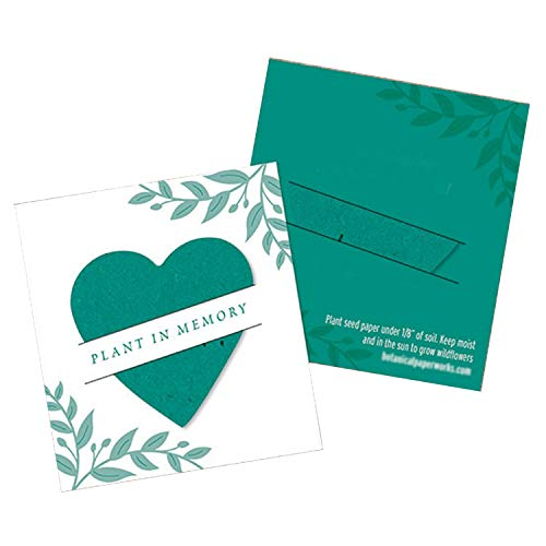 Teal Plantable Heart Memorial Mini Slot Cards - 2-1/2 x 2-3/4in. ()