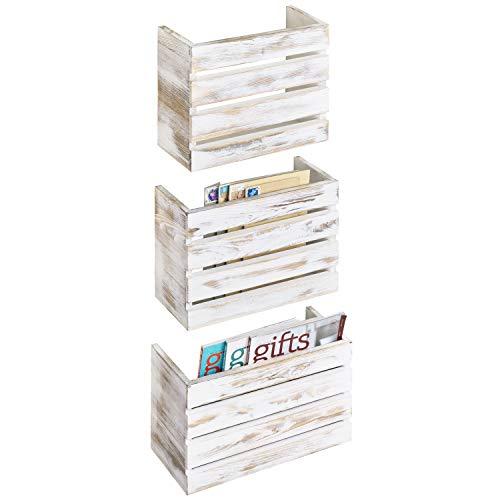 MyGift Shabby Whitewashed Wood Wall Mounted Mail/Magazine Storage Racks, Set of 3