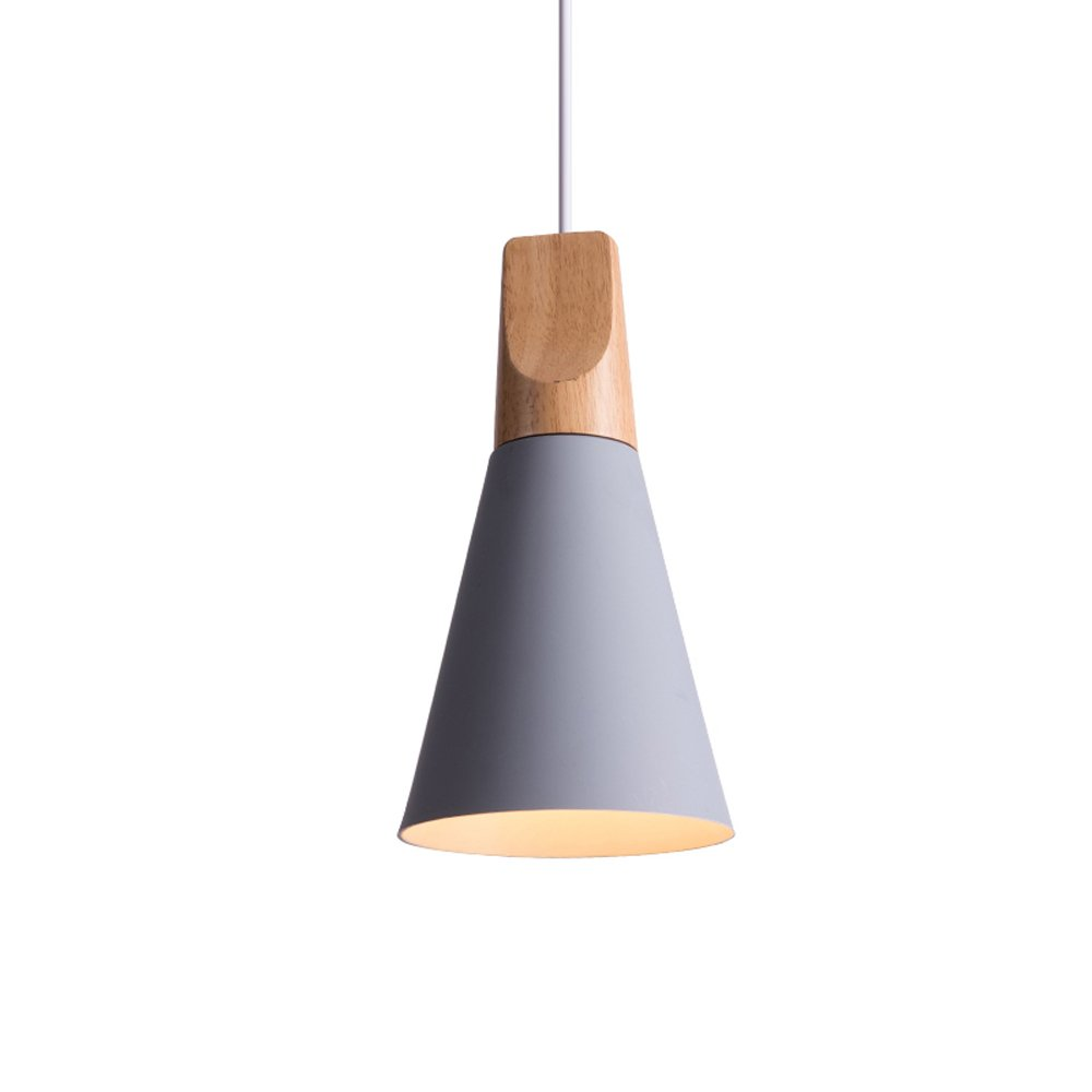 Iron Mini Chandelier, Postmodern LED Wood Dining Room Cafe Study Ceiling Lamp Nordic Aluminum Cafe Bedroom Small Pendant Light, Black, Gray, White ( Color : Gray )