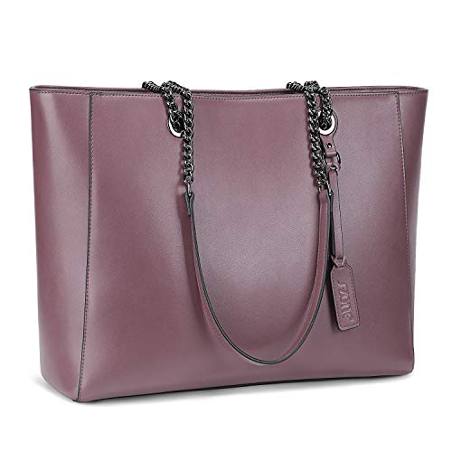 - S-ZONE Women Leather Work Tote Bag Shoulder Bag Fit up to 15.6 inch Laptop Upgraded Version 2.0 (purple)