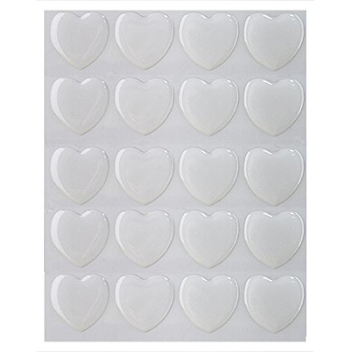 IGOGO 100 PCS Clear Heart Epoxy Stickers Adhesive Seal for Bottle Cap and Pendants -