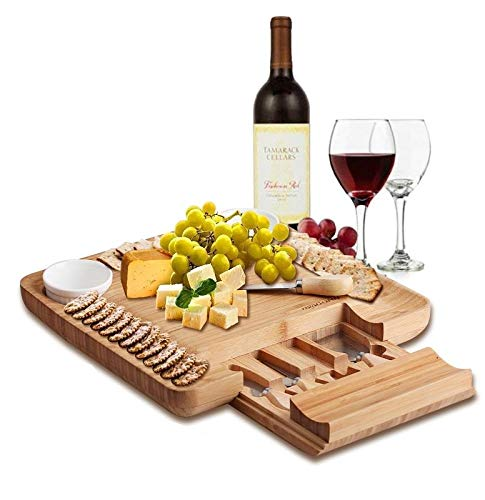 Natural Bamboo Cheese Board & Charcuterie Platter with Two Ramekans for Dips and Hidden Drawer for Cutlery Set - Perfect Cheese Platter for Birthday Gifts, Wedding, Housewarming Gift, Mom - Reviews Model Dragon