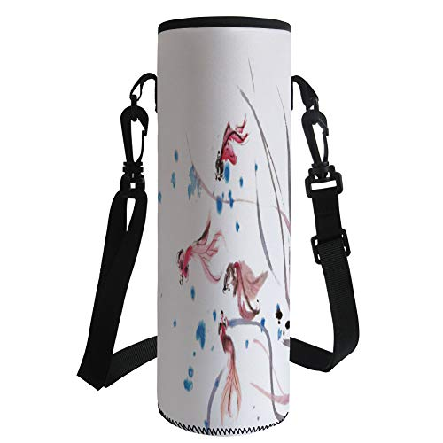 Water Bottle Sleeve Neoprene Bottle Cover,Ethnic Decor,Chinese Traditional Ink Painting Stylized Koi Fish Figures Asian Ethnic Artwork,Red Blue,Fit for Most of Water Bottles by iPrint