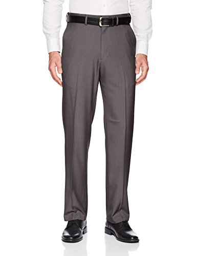 Haggar Men's Premium Comfort Classic Fit Flat Front Expandable Waist Pant, Medium Grey, 42Wx32L