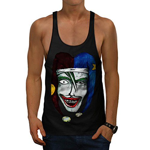 Smiling Scary Clown Joker Laugh Men XXL Gym Tank Top | Wellcoda (Scary Smiling Clown)