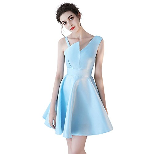 Gown Sky Fashion Cocktail Dress Satin Light Women's Blue Duraplast Short Evening YR1wHUPq