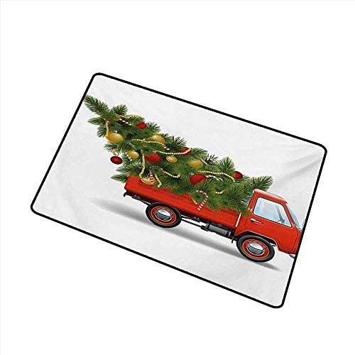 Diycon Outdoor Doormat Christmas Red Retro Style Farm Truck and Big Christmas Tree with Tinsel Balls Candy W24 xL35 Suitable for Outdoor and Indoor use]()