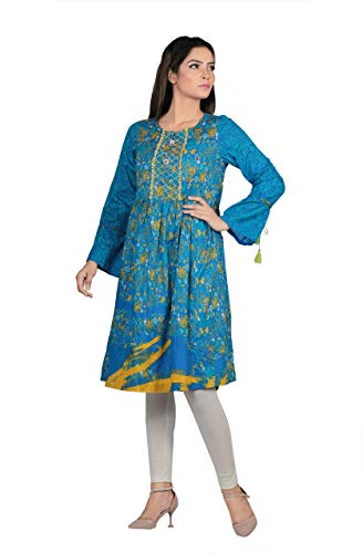YELLOW Classic Rhapsody Printed Frock Style Kurti Ready to wear Vivid Blue