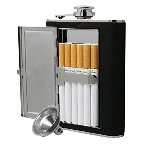 Flask Cigarette Holder - JUJOR Hip Flask with Built-In Cigarette Case (6 oz, Black)