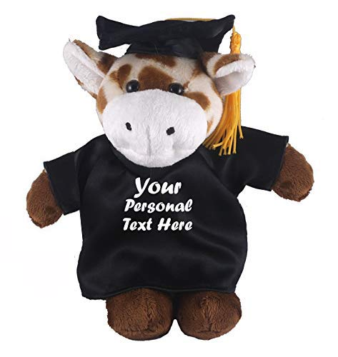 Plushland Plush Stuffed Animal Toys 8 Inches Present Gifts for Graduation Day, Personalized Text, Name or Your School Logo on Gown, Best for Any Grad School Kids (Graduation Giraffe Black Gown)