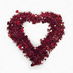 FE-OTC Garland Heart-Shaped Red Tinsel Wreath - Valentine's Day