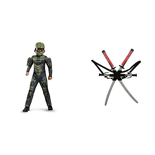 Master Chief Classic Costume, Large (10-12) with Dragon Ninja Weapon Backpack Weapon Set Bundle