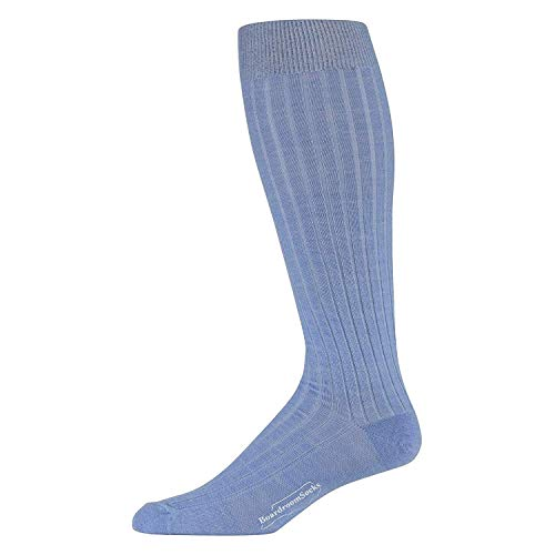 Boardroom Socks Men's Over the Calf Merino Wool Ribbed Dress Socks Sky Blue