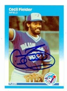 Cecil Fielder autographed baseball card (Toronto Blue Jay...
