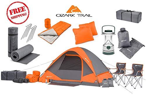 OZARK Trail Family Cabin Tent (Gray/Orange, 4 Person (22 Piece Combo Set))