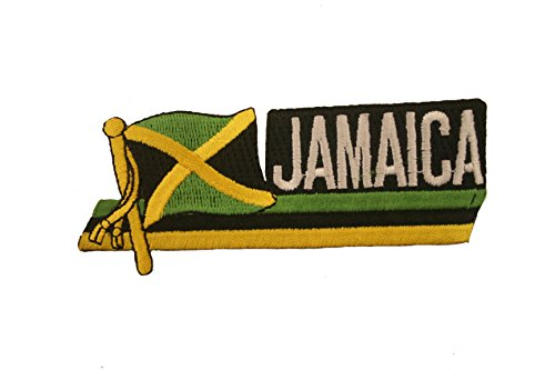 Jamaica Sidekick Word Country Flag Iron on Patch Crest Badge ... 1.5 X 4.5 Inches ... (Jamaica Flag Patch)