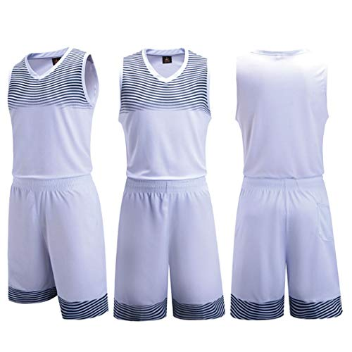 (GJFeng Basketball Clothing Suit Summer Competition Training Sports Suit Vest Shorts Men's Sleeveless Basketball Uniform Two-Piece (Color : White, Size : L))