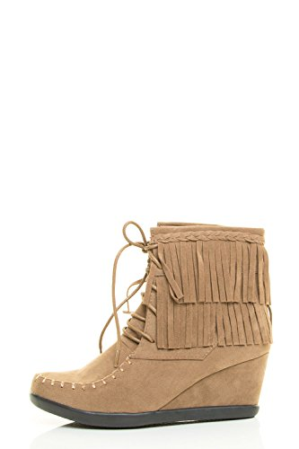 Forever Link Mujeres Round Toe Lace Up Fringe Braid Mocasín Wedge Botín Taupe