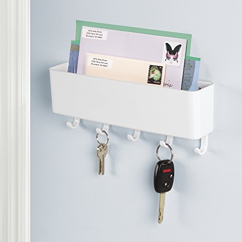 mdesign mail letter holder key rack organizer for entryway kitchen wall mount white. Black Bedroom Furniture Sets. Home Design Ideas
