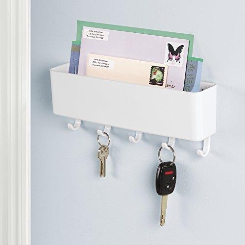 mdesign mail letter holder key rack organizer for entryway kitchen wall mount white. Black Bedroom Furniture Sets. Home Design Ideas