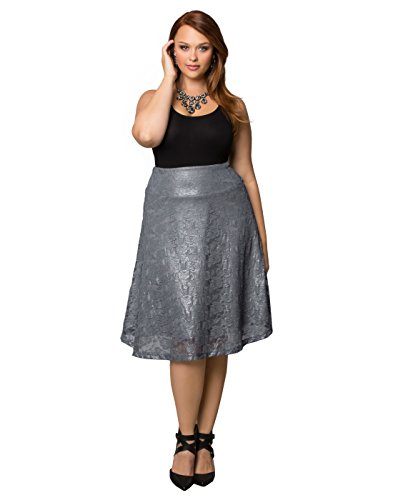 Kiyonna Women's Plus Size Limited Edition Shimmer Circle Skirt 1X Silver Sparkle