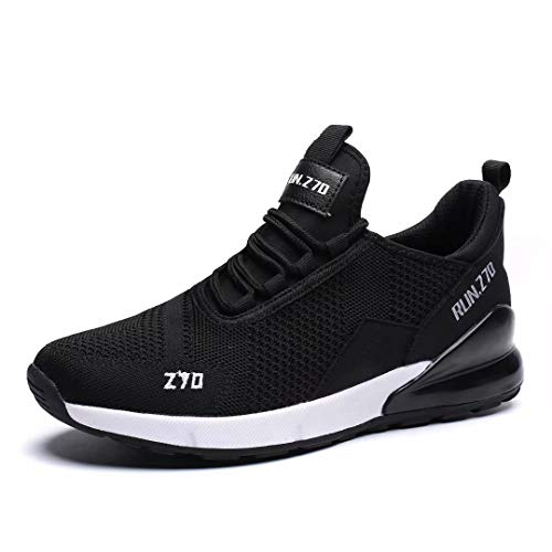 (Kvovzo Men's Running Shoes Mesh Cycling Fashion Sneakers Athletic Tennis Sport Shoe Cross Trainer Outdoor Boot for Men Fitness Black/White43 )