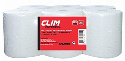 Pack de 6 rollos de papel secamanos tipo mecha 2 capas Clim Profesional. Rollos de