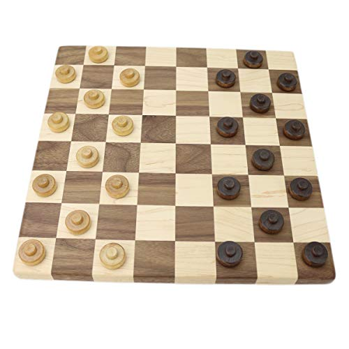 Walnut & Maple Checker Board with Stacking Checkers & Wooden Chess Pieces
