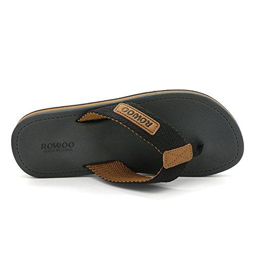 Men's Beach Flat Flops Thong Sandals Textile Summer HUMMOO Flip Gray Outdoor Slipper 7q4w6ZZx