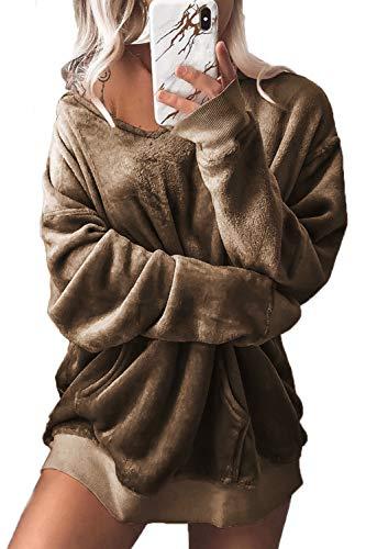 Lâche Décontracté Khaki Manches Jumojufol Longues Sweatshirt Sweat shirt À Pour Femmes 1zwOqPC1