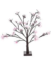 LED Cherry Blossom Tree Light Desk Top, Indoor 24pcs LED Cherry Tree Shape Lamp, Led Desk Tree Lamp, Home Party Decor Light