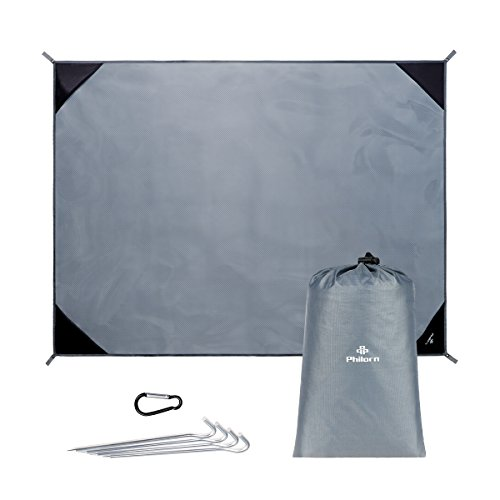 Philorn Large Picnic Camping Blanket Beach Mat(80''×60''/200×150 cm) with 4 Stakes Foldable Lightweight Waterproof and Sandproof for Outdoor Hiking Grassland Travel, Grey by PHILORN