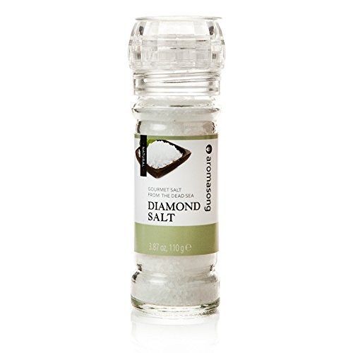 Natural Kosher Salt From the Dead Sea, Diamond Style, 100% Organic Salt, Great For Cooking, Salt Grinder Built In.