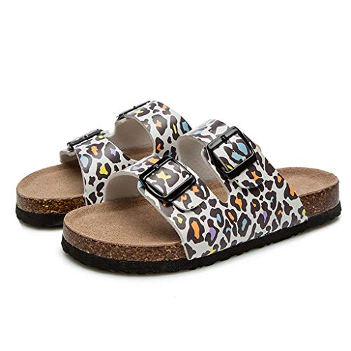 FarJing Womens Slippers Leopard Cork Slippers Double Buckle Beach Shoes Anti-Slip Toe Post Sandals(US:6,White