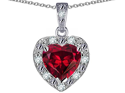 Star K 14k White Gold Heart Shape Created Ruby Halo Pendant Necklace (14k Ruby Slide)