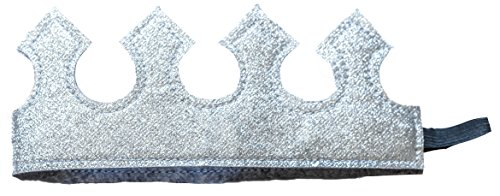 [Fun Play Time Glitter Stretch Crown in Shiny Silver Boy or Girl Toddler] (Tea Cake Costume)