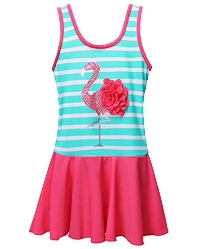 BAOHULU Toddler Girls Swimsuit One Piece Cute Floral Dress Swimwear 3-8 Years (7-8Y, StripeGreen) (Toddler Girls Swim Skirt)