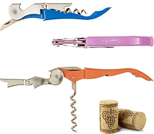 Original Wine Opener Wine Key by Trendy Bartender - Set of 3 Waiters Double Hinged Cork Screw In Branded Box - Foil Knife and Reinforced Steel Screw - Wine Bottle & Beer Bottle Opener In One