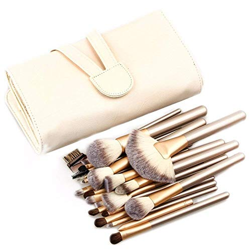 yan 24-Piece Make Up Brushes,Premium Synthetic Brush,Cosmetics Professional Essential Full Face Brush Set,Face Lip Eyeshadow Eyeliner,with Travel PU Leather Bag (32 Piece Makeup Brush Set And Their Uses)