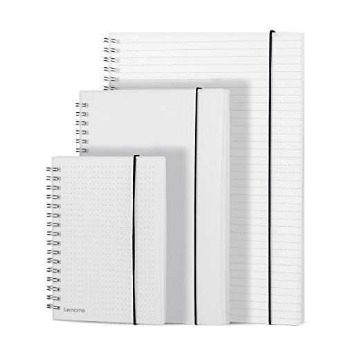 Spiral Journal / Wirebound Notebook - 3 Per Pack / 396 Pages - A4 Wide Ruled + A5 Blank + A6 Dot + Index Dividers, 120g Cream Writing Paper, Elastic Closure, Transparent Thick Hard Cover