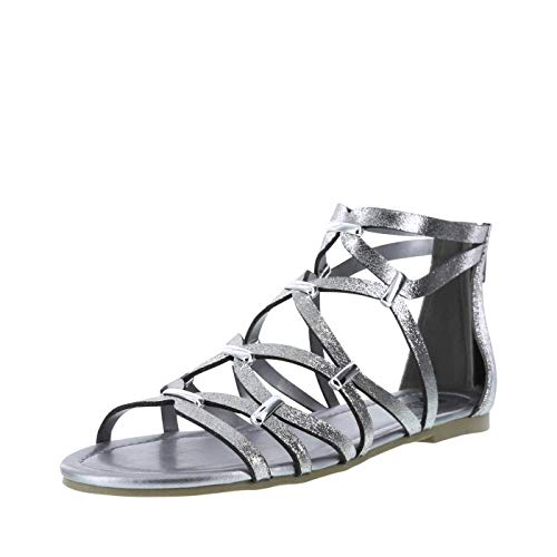 (Brash Silver Fabric Women's Wells Caged Flat 10 Regular)