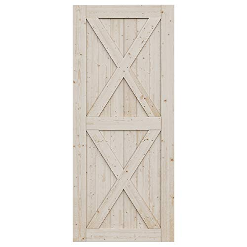 SmartStandard 36in x 84in Sliding Barn Wood Door Pre-Drilled Ready to Assemble, DIY Unfinished Solid Spruce Wood…