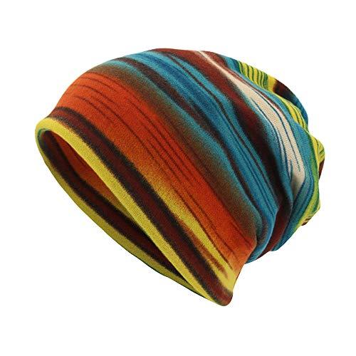 EnjoCho Unisex Stripe/Letter Print Scarf Beanie Cap Casaul Outdoor Convertible Windproof Fashion Hats 2018 (Sky ()