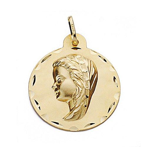18k médaille d'or Virgin Nina 24mm. biseauté ronde [9090]